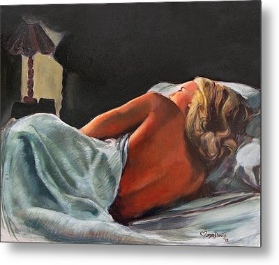 He Snuck Out Of Bed Metal Print by Mona Davis