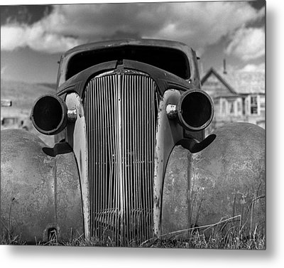 Headlights And Grill With Clouds Metal Print