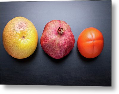 Healthy Fruits On Dark Wooden Background Metal Print by daitoZen