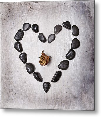 Heart With Rose Metal Print by Joana Kruse