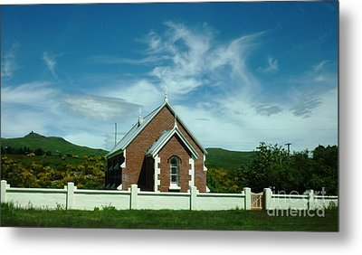 Heavenly Sky With Church Metal Print by Therese Alcorn