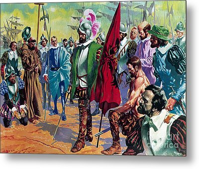Hernando Cortes Arriving In Mexico In 1519 Metal Print by English School