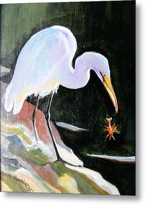 Heron And Crayfish Metal Print