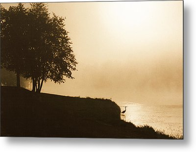 Heron In The Mist Metal Print by Peg Toliver
