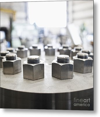 Hex Nuts Threaded On Bolts Metal Print by Jetta Productions, Inc