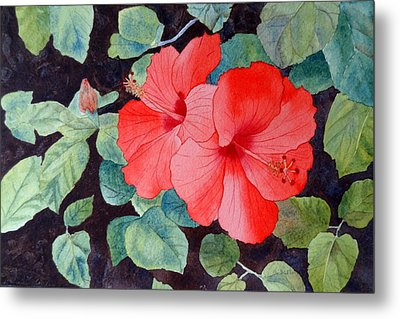Metal Print featuring the painting Hibiscus by Laurel Best