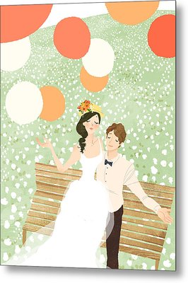 High Angle View Of Newlywed Couple Sitting On Garden Bench Metal Print