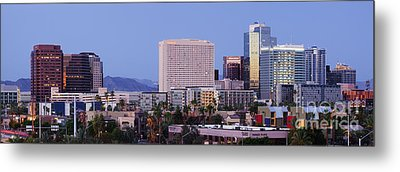 High Rise Buildings Of Downtown Phoenix At Sunrise Metal Print by Jeremy Woodhouse