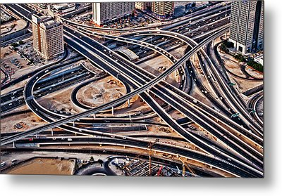 Highway Intersection Of Metal Print by Miemo Penttinen - miemo.net