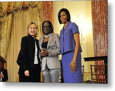 Hillary Clinton And Michelle Obama Metal Print