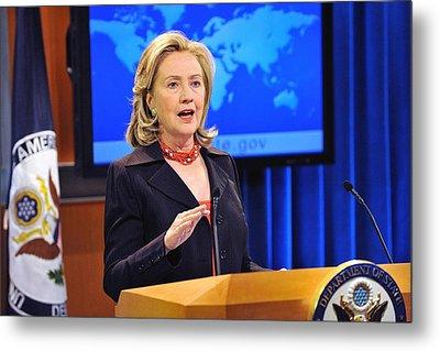 Hillary Clinton Speaking Metal Print by Everett