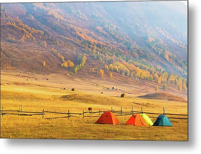 Hillside Camping In Hemu, Xinjiang China Metal Print by Feng Wei Photography