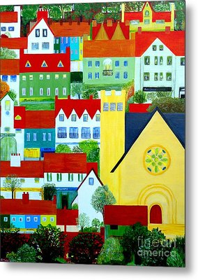 Hillside Village Metal Print by Barbara Moignard
