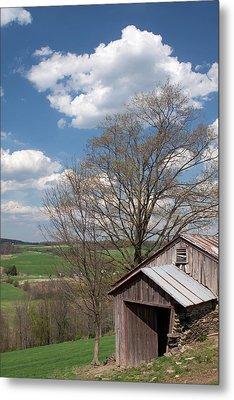 Hillside Weathered Barn Dramatic Spring Sky Metal Print by John Stephens
