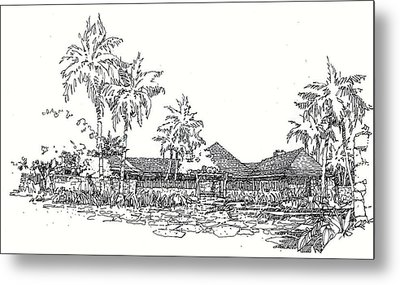 Metal Print featuring the drawing Hilo House by Andrew Drozdowicz