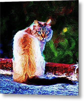 Metal Print featuring the digital art Himalayan Cat by John  Kolenberg