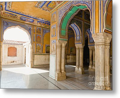 Hindu Palace Interior Metal Print by Inti St. Clair