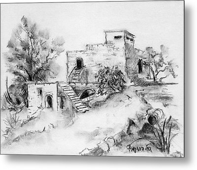 Hirbe Landscape In Afek Black And White Old Building Ruins Trees Bricks And Stairs Metal Print