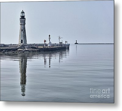 Historic Lighthouse On Lake Erie Metal Print by Phil Pantano