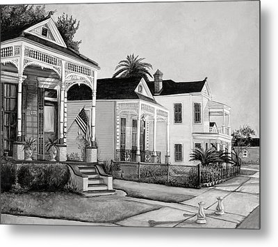 Historic Louisiana Homes In Black And White Metal Print by Elaine Hodges