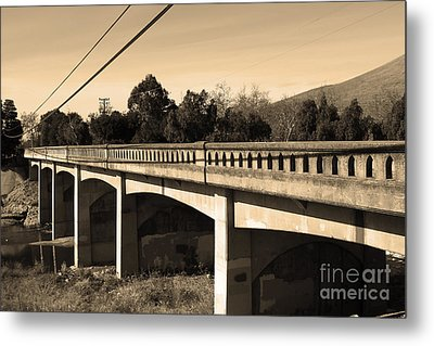 Historic Niles District In California Near Fremont . Bridge Into Niles District . 7d10596 . Sepia Metal Print
