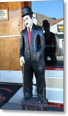 Historic Niles District In California Near Fremont . Charlie Chaplin Statue At The Florence Bar Metal Print