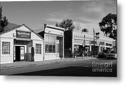 Historic Niles District In California Near Fremont . Main Street . Niles Boulevard . 7d10676  . Bw Metal Print by Wingsdomain Art and Photography
