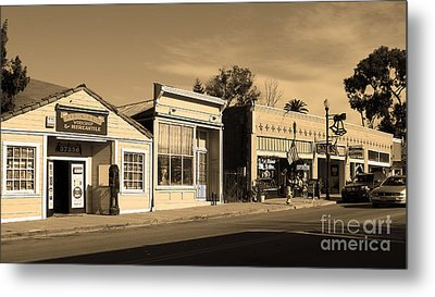 Historic Niles District In California Near Fremont . Main Street . Niles Boulevard . 7d10676 . Sepia Metal Print by Wingsdomain Art and Photography