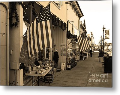 Historic Niles District In California Near Fremont . Main Street . Niles Boulevard . 7d10692 . Sepia Metal Print by Wingsdomain Art and Photography