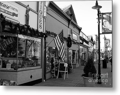 Historic Niles District In California Near Fremont . Main Street . Niles Boulevard . 7d10701 . Bw Metal Print by Wingsdomain Art and Photography