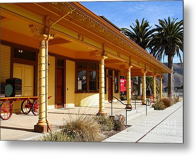 Historic Niles District In California Near Fremont . Niles Depot Museum And Niles Town Plaza.7d10636 Metal Print