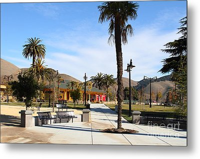 Historic Niles District In California Near Fremont . Niles Depot Museum And Niles Town Plaza.7d10651 Metal Print