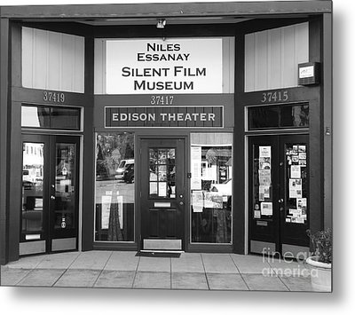 Historic Niles District In California Near Fremont . Niles Essanay Silent Film Museum . 7d10684 Bw Metal Print by Wingsdomain Art and Photography