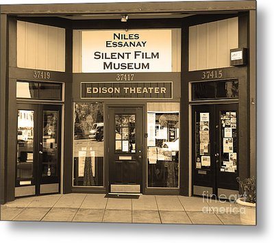 Historic Niles District In California Near Fremont . Niles Essanay Silent Film Museum.7d10684.sepia Metal Print by Wingsdomain Art and Photography