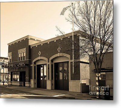 Historic Niles District In California Near Fremont . Niles Fire Station Number 2 . 7d10732 . Sepia Metal Print by Wingsdomain Art and Photography