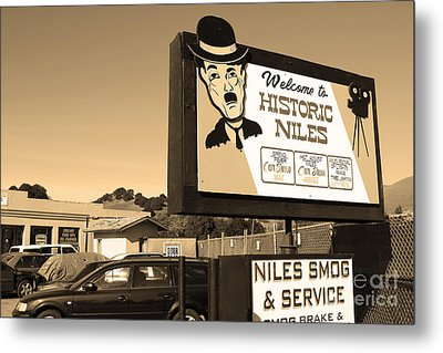Historic Niles District In California Near Fremont . Welcome To Niles Sign . 7d10603 . Sepia Metal Print