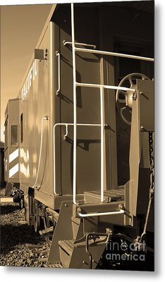 Historic Niles District In California Near Fremont . Western Pacific Caboose Train . 7d10622 . Sepia Metal Print by Wingsdomain Art and Photography
