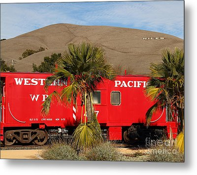 Historic Niles District In California Near Fremont . Western Pacific Caboose Train . 7d10718 Metal Print by Wingsdomain Art and Photography