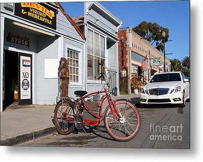 Historic Niles District In California.motorized Bike Outside Devils Workshop And Mercantile.7d12729 Metal Print by Wingsdomain Art and Photography