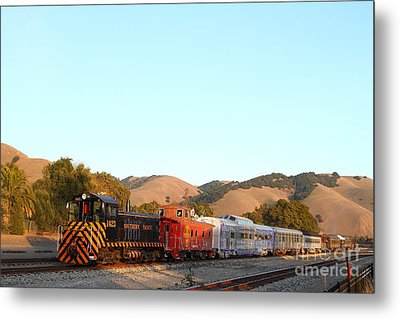 Historic Niles Trains In California . Old Southern Pacific Locomotive And Sante Fe Caboose . 7d10869 Metal Print by Wingsdomain Art and Photography