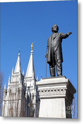Historic Salt Lake Mormon Lds Temple And Brigham Young Metal Print by Gary Whitton