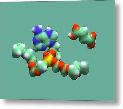 Hiv Drug Molecule Metal Print by Dr Tim Evans
