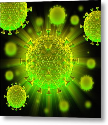 Hiv Particles Metal Print by Mehau Kulyk