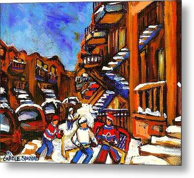 Hockey Art Boys Playing Street Hockey Montreal City Scene Metal Print by Carole Spandau