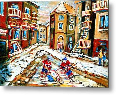 Hockey Art Hockey Game Plateau Montreal Street Scene Metal Print by Carole Spandau