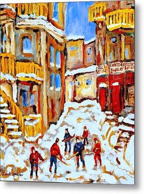 Hockey Art Montreal City Streets Boys Playing Hockey Metal Print by Carole Spandau