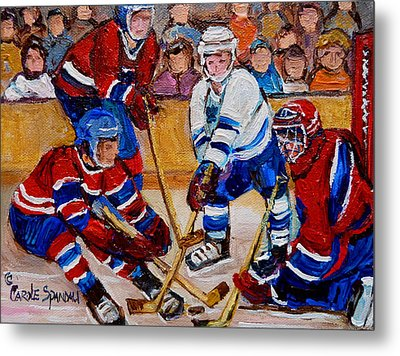 Hockey Game Scoring The Goal Metal Print by Carole Spandau