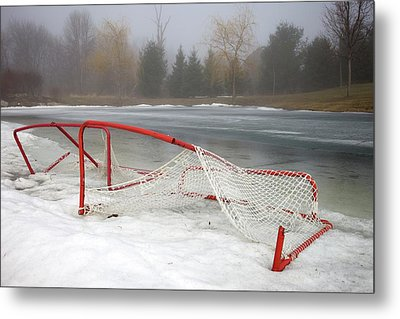 Hockey Net On Frozen Pond Metal Print by Perry McKenna Photography
