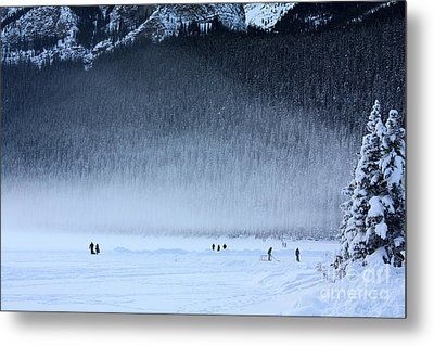 Metal Print featuring the photograph Hockey On Lake Louise by Alyce Taylor