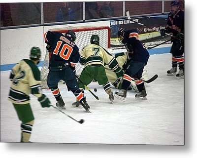 Hockey Two On Two Metal Print by Thomas Woolworth